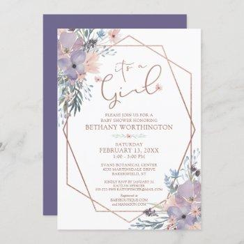 Watercolor Floral Purple Violet Baby Shower Invitation