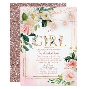 Watercolor Glitter Baby Girl Shower By Mail Invitation
