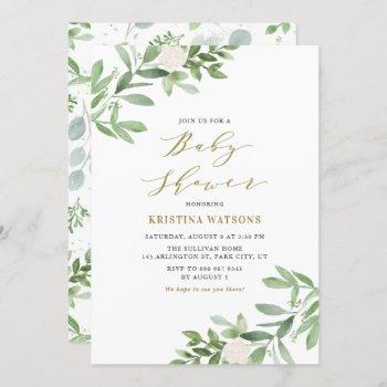 Watercolor Greenery And White Flowers Baby Shower Invitation