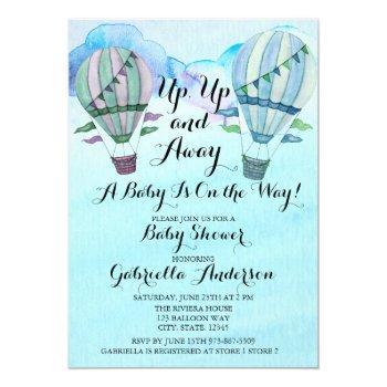 Watercolor Hot Air Balloon Baby Shower Invitation