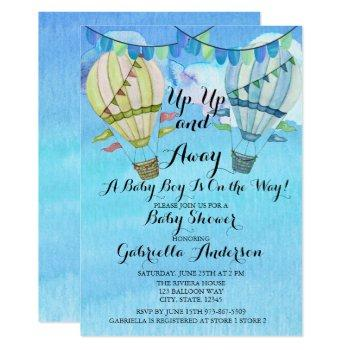 Watercolor Hot Air Balloon Boy Baby Shower Invitation