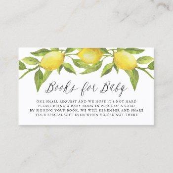 Watercolor Lemon Greenery Book Request Card