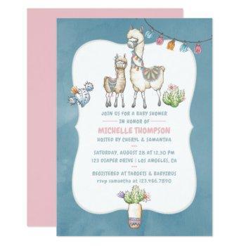 Watercolor Llama Themed Baby Shower Invitation