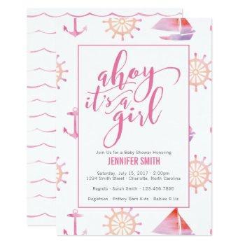 Watercolor Nautical Girl Baby Shower Invitation