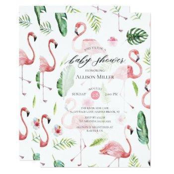 Watercolor Pink Flamingo Baby Shower Invitation