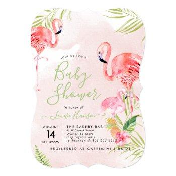 Watercolor Pink Flamingos Baby Shower Invitation