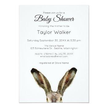 Watercolor Rabbit Baby Shower  Invitation