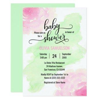 Watercolor Roses Pink & Mint Green Baby Shower Invitation