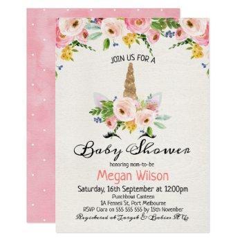 Watercolor Roses Unicorn Baby Shower Invitation