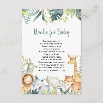 Watercolor Safari Animals Books For Baby Enclosure Card