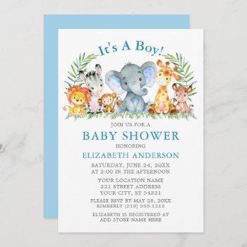 Watercolor Safari Animals Boy Blue Baby Shower