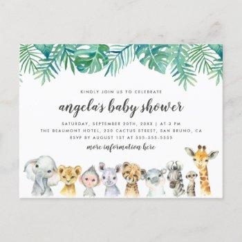 Watercolor Safari Animals Modern Baby Shower Invitation Postcard