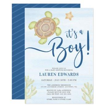 Watercolor Sea Turtle Boy Baby Shower Invitation