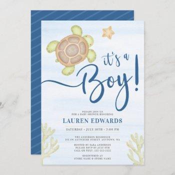 Watercolor Sea Turtle Boy Baby Shower Invitation