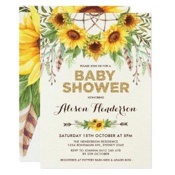 Watercolor Sunflower Baby Shower Rustic Bohemian Invitation