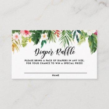 Watercolor Tropical Flowers Diaper Raffle Card