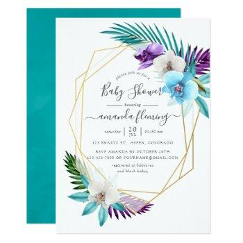 Watercolor Tropical Orchids Geometric Baby Shower Invitation