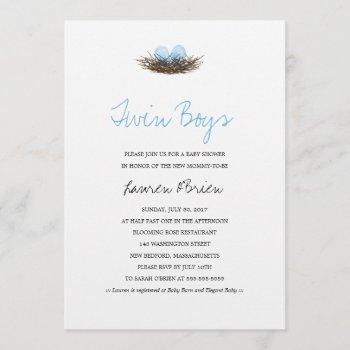 Watercolor Twin Boys Bird's Nest Baby Shower Invitation