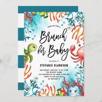Watercolor Under The Sea Baby Shower Brunch Invitation