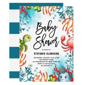 Watercolor Under The Sea Friends Baby Shower Invitation
