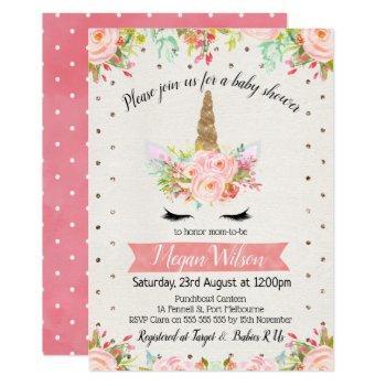 Watercolor Unicorn Floral Baby Shower Invitation