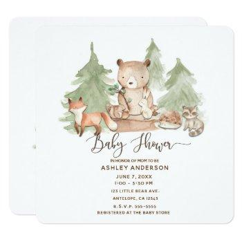 Watercolor Woodland Forest Animals Baby Shower Invitation