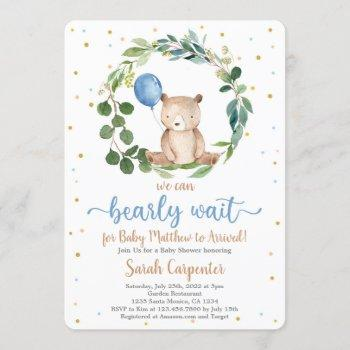 We Can Bearly Wait Baby Shower Boy Invitation