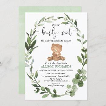 We Can Bearly Wait Gender Neutral Bear Baby Shower Invitation