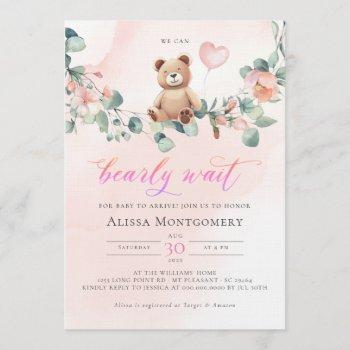 We Can Bearly Wait! Girl Baby Shower Invitation
