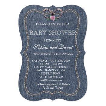 Western Old Denim Horseshoes Baby Shower Invite