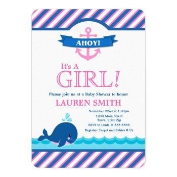 Whale Baby Shower Invitation Girl Pink