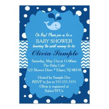 Whale Baby Shower Invitation, Nautical Baby Shower Invitation