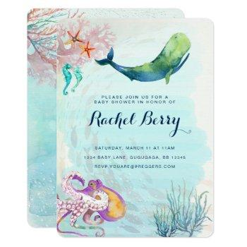 Whale Nautical Baby Shower Invite