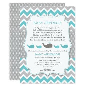 Whales Baby Sprinkle Invitation, Neutral Gender Invitation