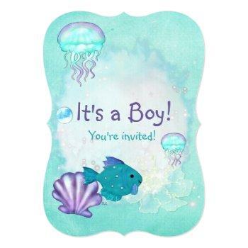 Whimsey Aquarium 2 Its A Baby Boy Girl Shower Invitation