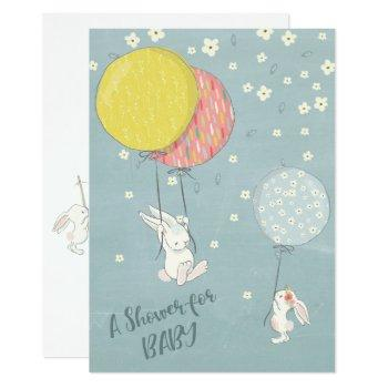 Whimsical Balloon Bunny Rabbits  Baby Shower Invitation