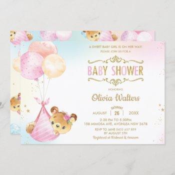 Whimsical Cute Bear Balloons Baby Shower Girl Invitation