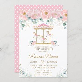 Whimsical Pink Floral Carousel Girl Baby Shower Invitation