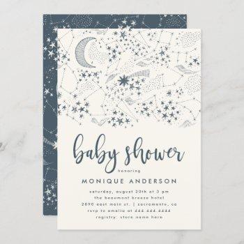 Whimsical Starry Night Constellation Baby Shower Invitation