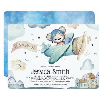 Whimsical Watercolor Pilot Teddy Bear Invitation