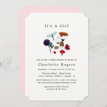 Whimsical Wild Flowers Ladybugs And Butterflies Invitation