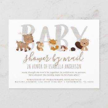 Whimsical Woodland Animals Baby Shower By Mail Invitation Postcard