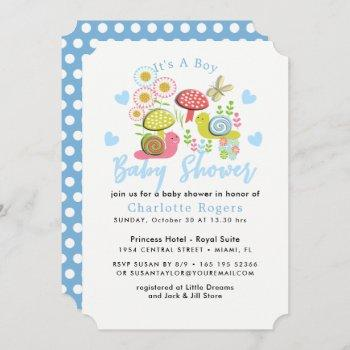Whimsy Fairy-tale Spring Garden Baby Boy Shower Invitation