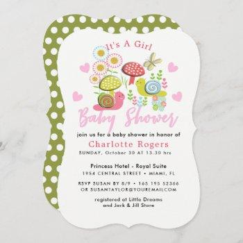 Whimsy Fairy-tale Spring Garden Baby Girl Shower Invitation