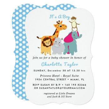 Whimsy Zoo Animals Cute Boys Baby Shower Invite
