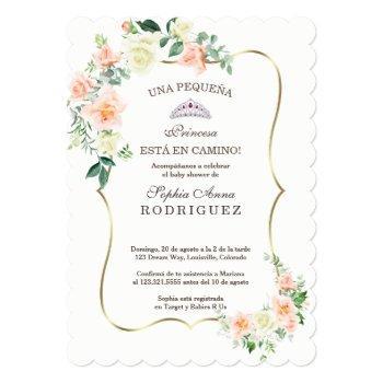 White Blush Flowers Invitación De Baby Shower Invitation