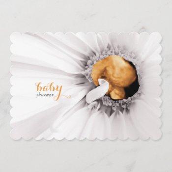 White Daisy Ultrasound Baby Shower Invite