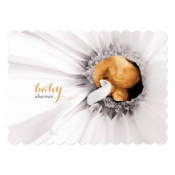 White Daisy Ultrasound Baby Shower Invite