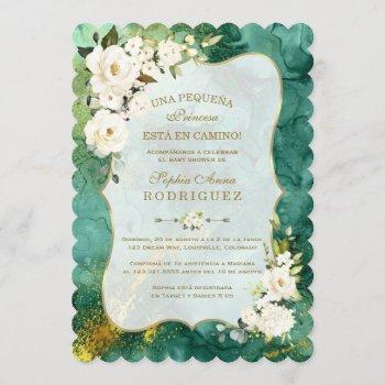 White Flowers Malachite Gold Spanish Baby Shower
