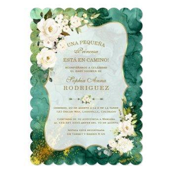 White Flowers Malachite Gold Spanish Baby Shower Invitation